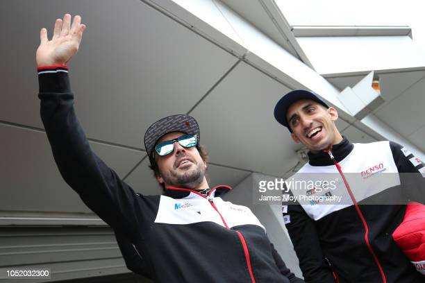 Fernando Alonso of Spain and Toyota Gazoo Racing with Sebastien Buemi of Switzerland and Toyota Gazoo Racing at Fuji International Speedway on...