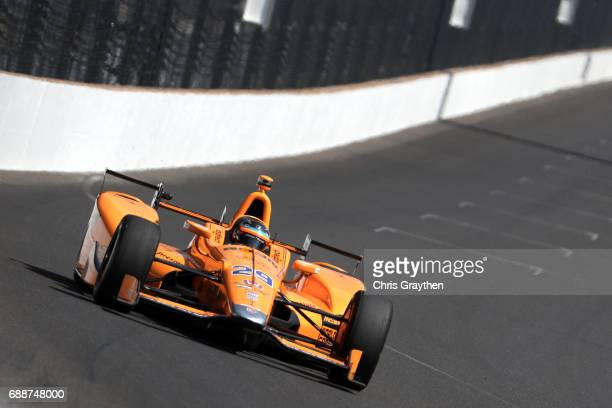 Fernando Alonso of Spain, driver of the Chandon Honda drives during Carb day for the 101st Indianapolis 500 at Indianapolis Motorspeedway on May 26,...