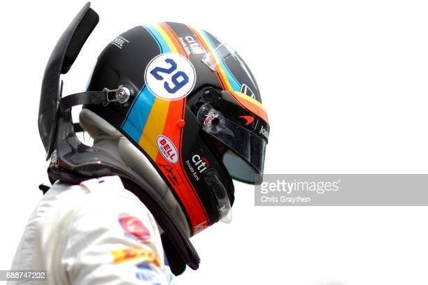 Fernando Alonso of Spain, driver of the Chandon Honda prepares to drive during Carb day for the 101st Indianapolis 500 at Indianapolis Motorspeedway...