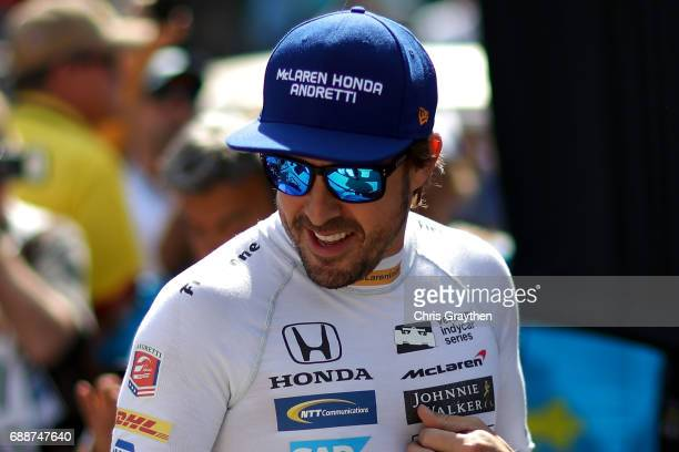 Fernando Alonso of Spain driver of the Chandon Honda prepares to drive during Carb day for the 101st Indianapolis 500 at Indianapolis Motorspeedway...