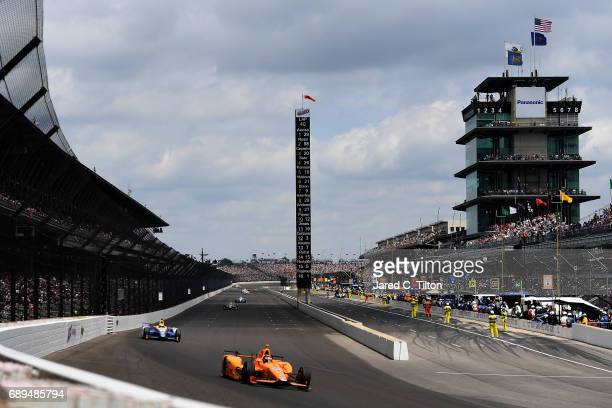 Fernando Alonso of Spain driver of the McLarenHondaAndretti Honda races during the 101st Indianapolis 500 at Indianapolis Motorspeedway on May 28...
