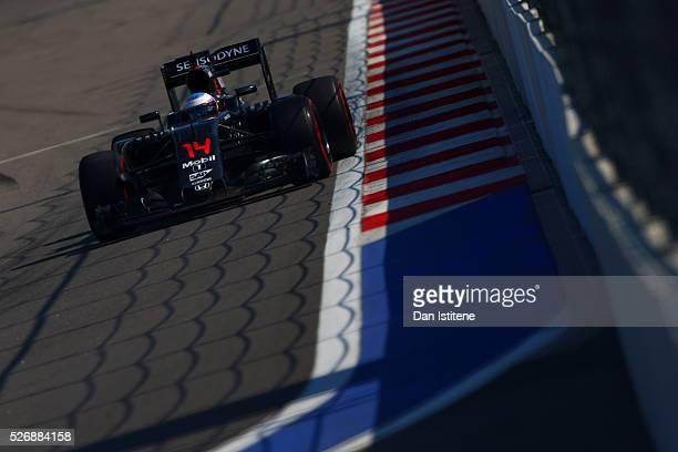 Fernando Alonso of Spain drives the 4 McLaren Honda Formula 1 Team McLaren MP4-31 Honda RA616H Hybrid turbo during the Formula One Grand Prix of...