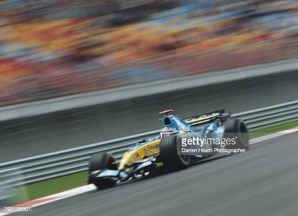 Fernando Alonso of Spain drives the Mild Seven Renault F1 Team Renault R25 Renault RS25 V10 during the Formula One Turkish Grand Prix on 21 August...