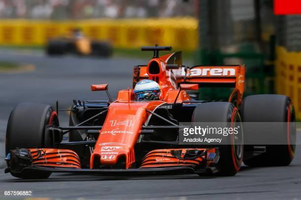 Fernando Alonso of Spain driving for McLaren Honda attends free practice during the 2017 Rolex Australian Formula 1 Grand Prix at Albert Park circuit...