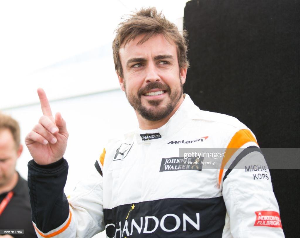 Fernando Alonso of Spain driving for McLaren Honda, makes a hand gesture during driver portrait session before the 2017 Formula 1 Rolex Australian Grand Prix. Albert Park circuit in Melbourne, Australia on March 23, 2017.