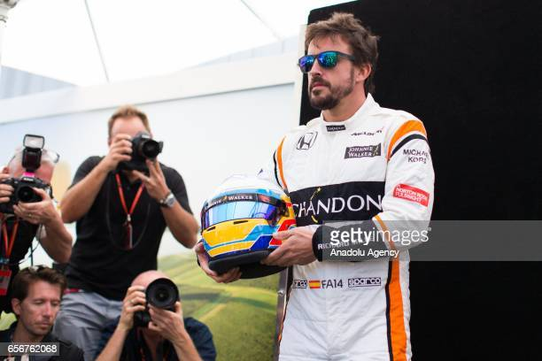Fernando Alonso of Spain driving for McLaren Honda poses during driver portrait session before the 2017 Formula 1 Rolex Australian Grand Prix Albert...