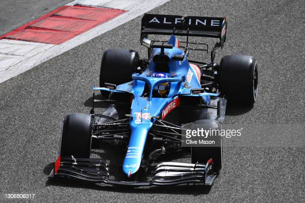 Fernando Alonso of Spain driving the Alpine A521 Renault during Day Two of F1 Testing at Bahrain International Circuit on March 13, 2021 in Bahrain,...