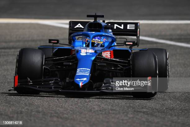 Fernando Alonso of Spain driving the Alpine A521 Renault on track during Day Two of F1 Testing at Bahrain International Circuit on March 13, 2021 in...
