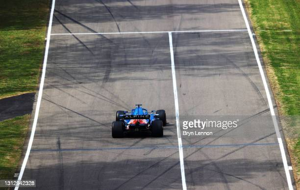 Fernando Alonso of Spain driving the Alpine A521 Renault on track during final practice ahead of the F1 Grand Prix of Emilia Romagna at Autodromo...