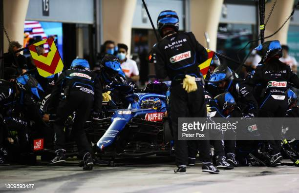 Fernando Alonso of Spain driving the Alpine A521 Renault stops in the Pitlane during the F1 Grand Prix of Bahrain at Bahrain International Circuit on...