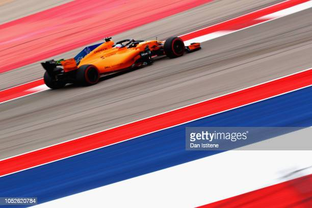 Fernando Alonso of Spain driving the McLaren F1 Team MCL33 Renault on track during final practice for the United States Formula One Grand Prix at...