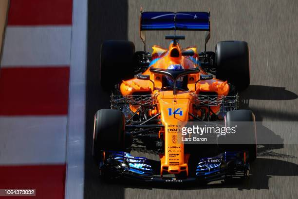 Fernando Alonso of Spain driving the McLaren F1 Team MCL33 Renault on track during practice for the Abu Dhabi Formula One Grand Prix at Yas Marina...