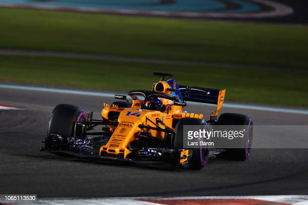 Fernando Alonso of Spain driving the McLaren F1 Team MCL33 Renault on track during the Abu Dhabi Formula One Grand Prix at Yas Marina Circuit on...