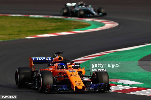 Fernando Alonso of Spain driving the McLaren F1 Team MCL33 Renault on track during day four of F1 Winter Testing at Circuit de Catalunya on March 9...