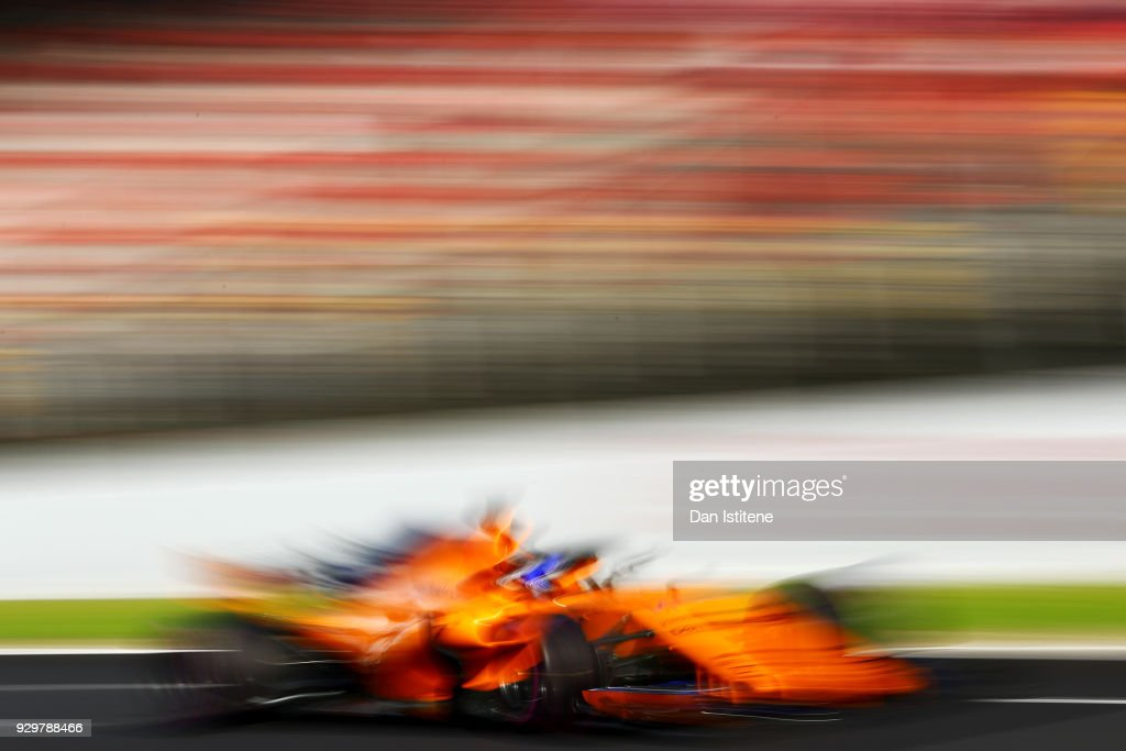 Fernando Alonso of Spain driving the (14) McLaren F1 Team MCL33 Renault on track during day four of F1 Winter Testing at Circuit de Catalunya on March 9, 2018 in Montmelo, Spain.
