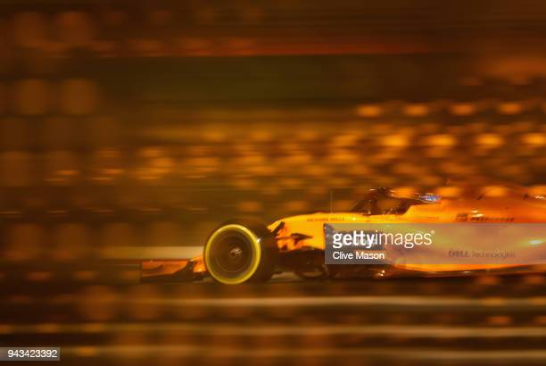 Fernando Alonso of Spain driving the McLaren F1 Team MCL33 Renault on track during the Bahrain Formula One Grand Prix at Bahrain International...