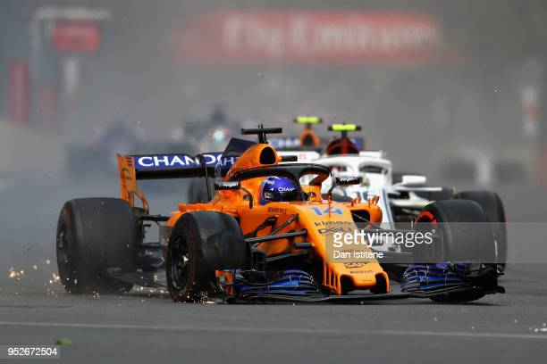 Fernando Alonso of Spain driving the McLaren F1 Team MCL33 Renault on track after a collision during the Azerbaijan Formula One Grand Prix at Baku...