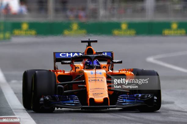Fernando Alonso of Spain driving the McLaren F1 Team MCL33 Renault on track during the Azerbaijan Formula One Grand Prix at Baku City Circuit on...