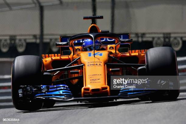 Fernando Alonso of Spain driving the McLaren F1 Team MCL33 Renault on track during final practice for the Monaco Formula One Grand Prix at Circuit de...