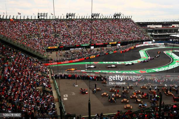 Fernando Alonso of Spain driving the McLaren F1 Team MCL33 Renault exits the stadium during the Formula One Grand Prix of Mexico at Autodromo...