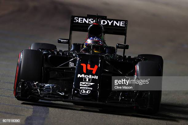 Fernando Alonso of Spain driving the McLaren Honda Formula 1 Team McLaren MP431 Honda RA616H Hybrid turbo on track during the Formula One Grand Prix...
