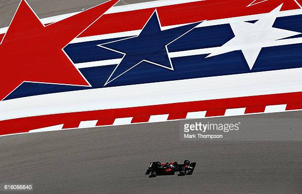 Fernando Alonso of Spain driving the McLaren Honda Formula 1 Team McLaren MP431 Honda RA616H Hybrid turbo on track during practice for the United...