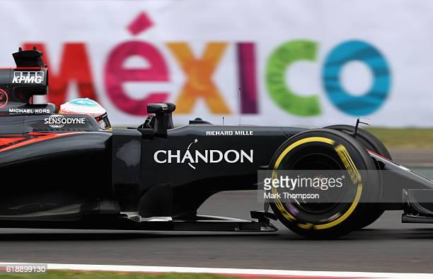 Fernando Alonso of Spain driving the McLaren Honda Formula 1 Team McLaren MP431 Honda RA616H Hybrid turbo on track during practice for the Formula...