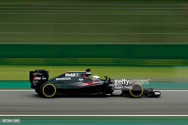 Fernando Alonso of Spain driving the McLaren Honda Formula 1 Team McLaren MP4-31 Honda RA616H Hybrid turbo on track during qualifying for the Formula...