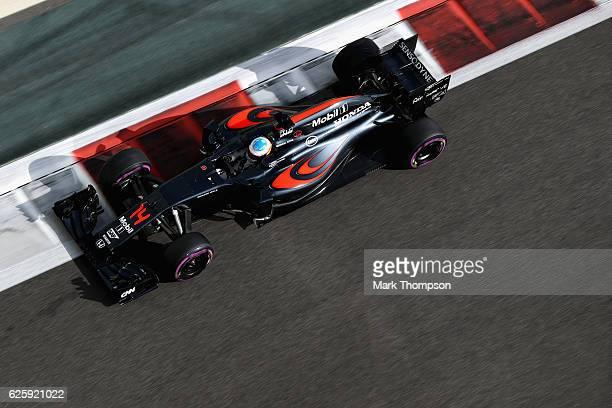 Fernando Alonso of Spain driving the McLaren Honda Formula 1 Team McLaren MP431 Honda RA616H Hybrid turbo on track during final practice for the Abu...