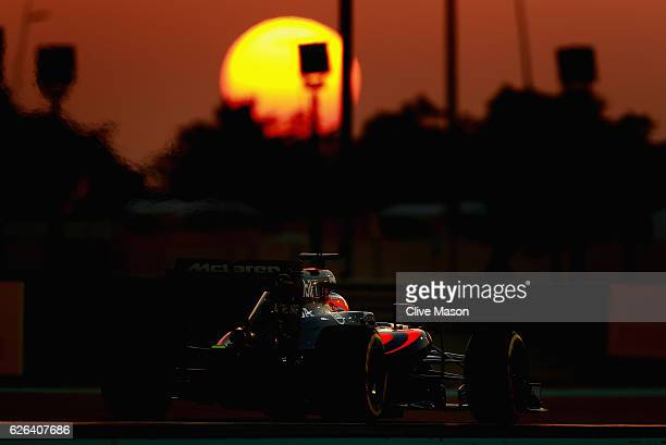 Fernando Alonso of Spain driving the McLaren Honda Formula 1 Team McLaren MP431 Honda RA616H Hybrid turbo on track during the Abu Dhabi Formula One...