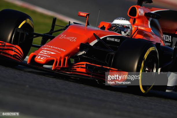 Fernando Alonso of Spain driving the McLaren Honda Formula 1 Team McLaren MCL32 on track during day one of Formula One winter testing at Circuit de...