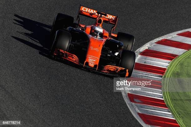 Fernando Alonso of Spain driving the McLaren Honda Formula 1 Team McLaren MCL32 on track during day three of Formula One winter testing at Circuit de...