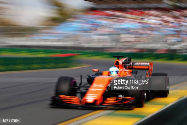 Fernando Alonso of Spain driving the McLaren Honda Formula 1 Team McLaren MCL32 on track during practice for the Australian Formula One Grand Prix at...