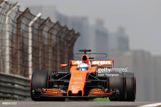 Fernando Alonso of Spain driving the McLaren Honda Formula 1 Team McLaren MCL32 on track during qualifying for the Formula One Grand Prix of China at...