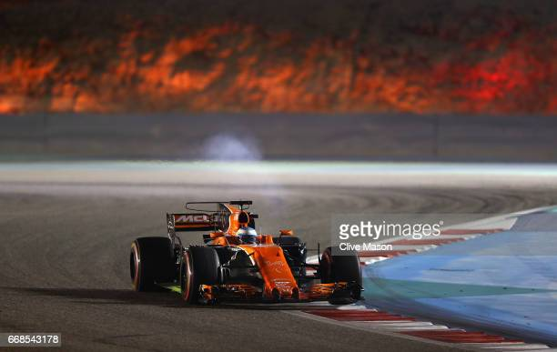 Fernando Alonso of Spain driving the McLaren Honda Formula 1 Team McLaren MCL32 on track during practice for the Bahrain Formula One Grand Prix at...