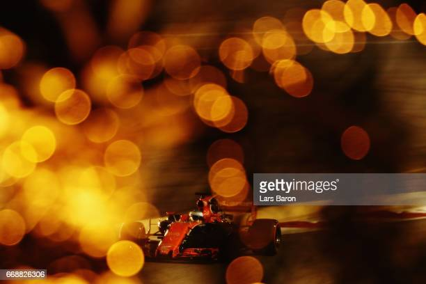 Fernando Alonso of Spain driving the McLaren Honda Formula 1 Team McLaren MCL32 on track during qualifying for the Bahrain Formula One Grand Prix at...