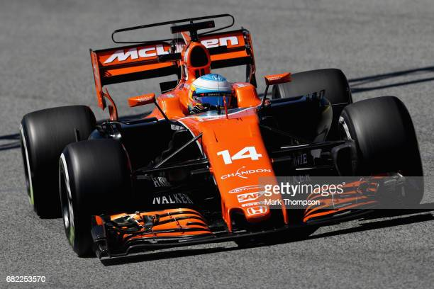 Fernando Alonso of Spain driving the McLaren Honda Formula 1 Team McLaren MCL32 on track during practice for the Spanish Formula One Grand Prix at...