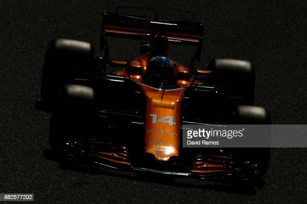 Fernando Alonso of Spain driving the McLaren Honda Formula 1 Team McLaren MCL32 on track during final practice for the Spanish Formula One Grand Prix...