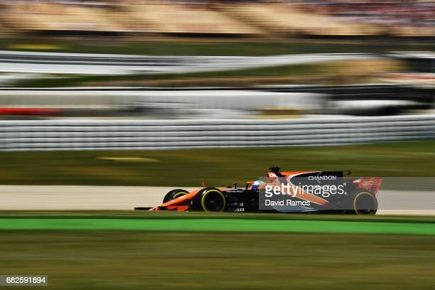 Fernando Alonso of Spain driving the McLaren Honda Formula 1 Team McLaren MCL32 on track during qualifying for the Spanish Formula One Grand Prix at...