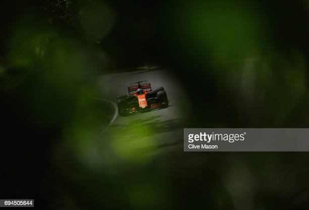 Fernando Alonso of Spain driving the McLaren Honda Formula 1 Team McLaren MCL32 on track during final practice for the Canadian Formula One Grand...