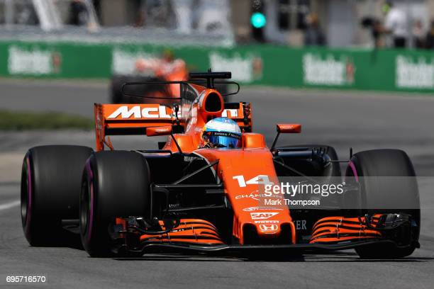 Fernando Alonso of Spain driving the McLaren Honda Formula 1 Team McLaren MCL32 on track during the Canadian Formula One Grand Prix at Circuit Gilles...