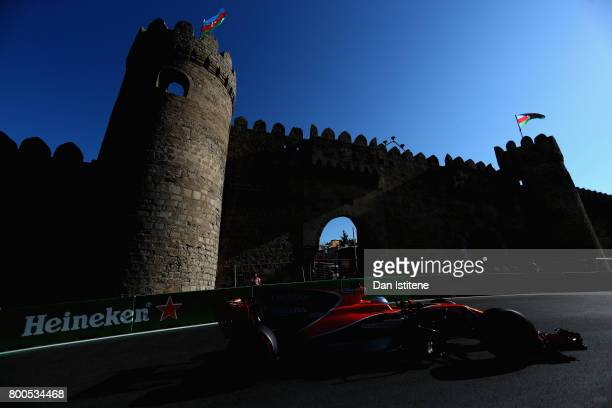 Fernando Alonso of Spain driving the McLaren Honda Formula 1 Team McLaren MCL32 on track during qualifying for the Azerbaijan Formula One Grand Prix...
