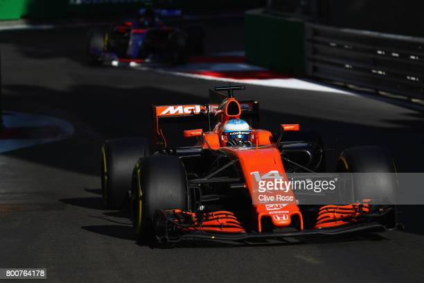Fernando Alonso of Spain driving the McLaren Honda Formula 1 Team McLaren MCL32 on track during the Azerbaijan Formula One Grand Prix at Baku City...