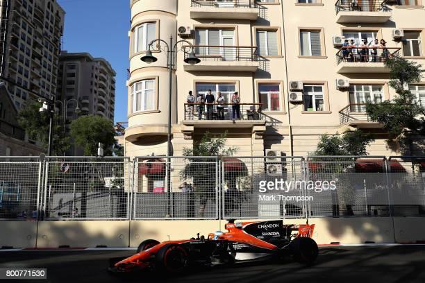 Fernando Alonso of Spain driving the McLaren Honda Formula 1 Team McLaren MCL32 on track during the Azerbaijan Formula One Grand Prix at Baku City...