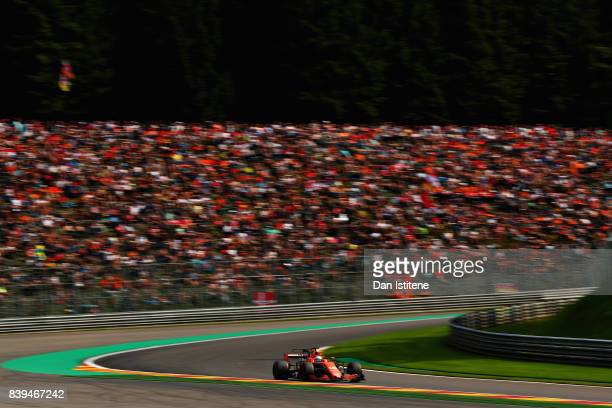 Fernando Alonso of Spain driving the McLaren Honda Formula 1 Team McLaren MCL32 on track during qualifying for the Formula One Grand Prix of Belgium...