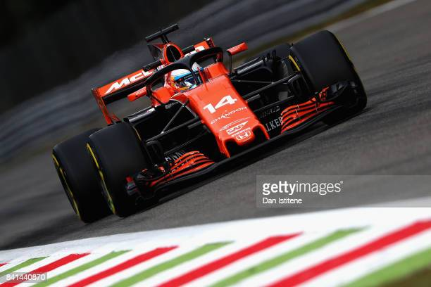 Fernando Alonso of Spain driving the McLaren Honda Formula 1 Team McLaren MCL32 fitted with the halo on track during practice for the Formula One...