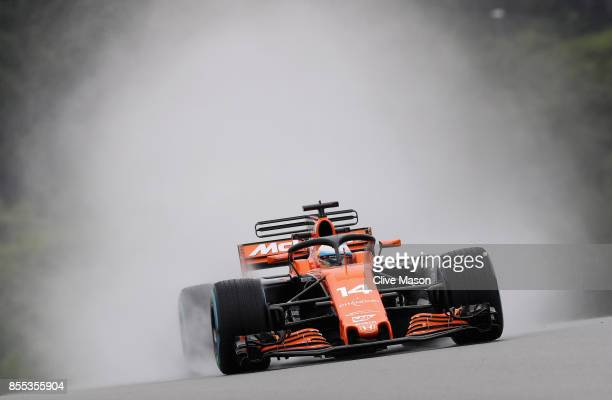 Fernando Alonso of Spain driving the McLaren Honda Formula 1 Team McLaren MCL32 fitted with the halo on track during practice for the Malaysia...