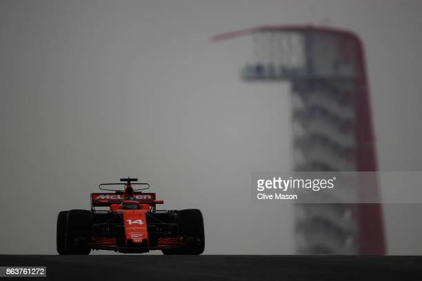 Fernando Alonso of Spain driving the McLaren Honda Formula 1 Team McLaren MCL32 on track during practice for the United States Formula One Grand Prix...