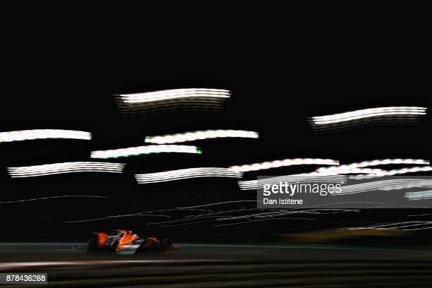 Fernando Alonso of Spain driving the McLaren Honda Formula 1 Team McLaren MCL32 on track during practice for the Abu Dhabi Formula One Grand Prix at...