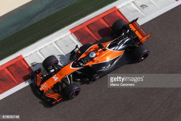 Fernando Alonso of Spain driving the McLaren Honda Formula 1 Team McLaren MCL32 on track during practice for the Abu Dhabi Formula One Grand Prix